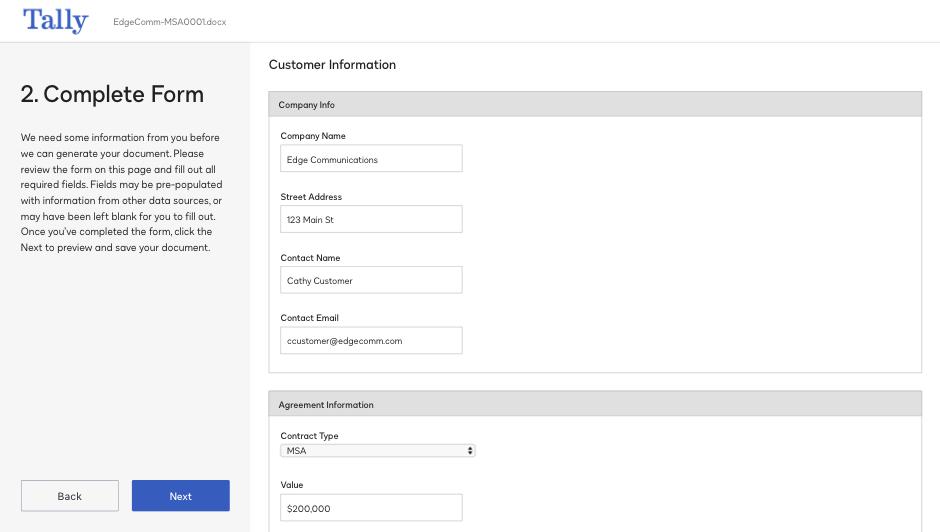 Screenshot einer Formular-Fertigstellung im System