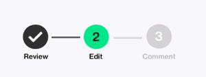 Screenshot, welcher die Schritte der Editorunterstützung in DocuSign CLM zeigt.