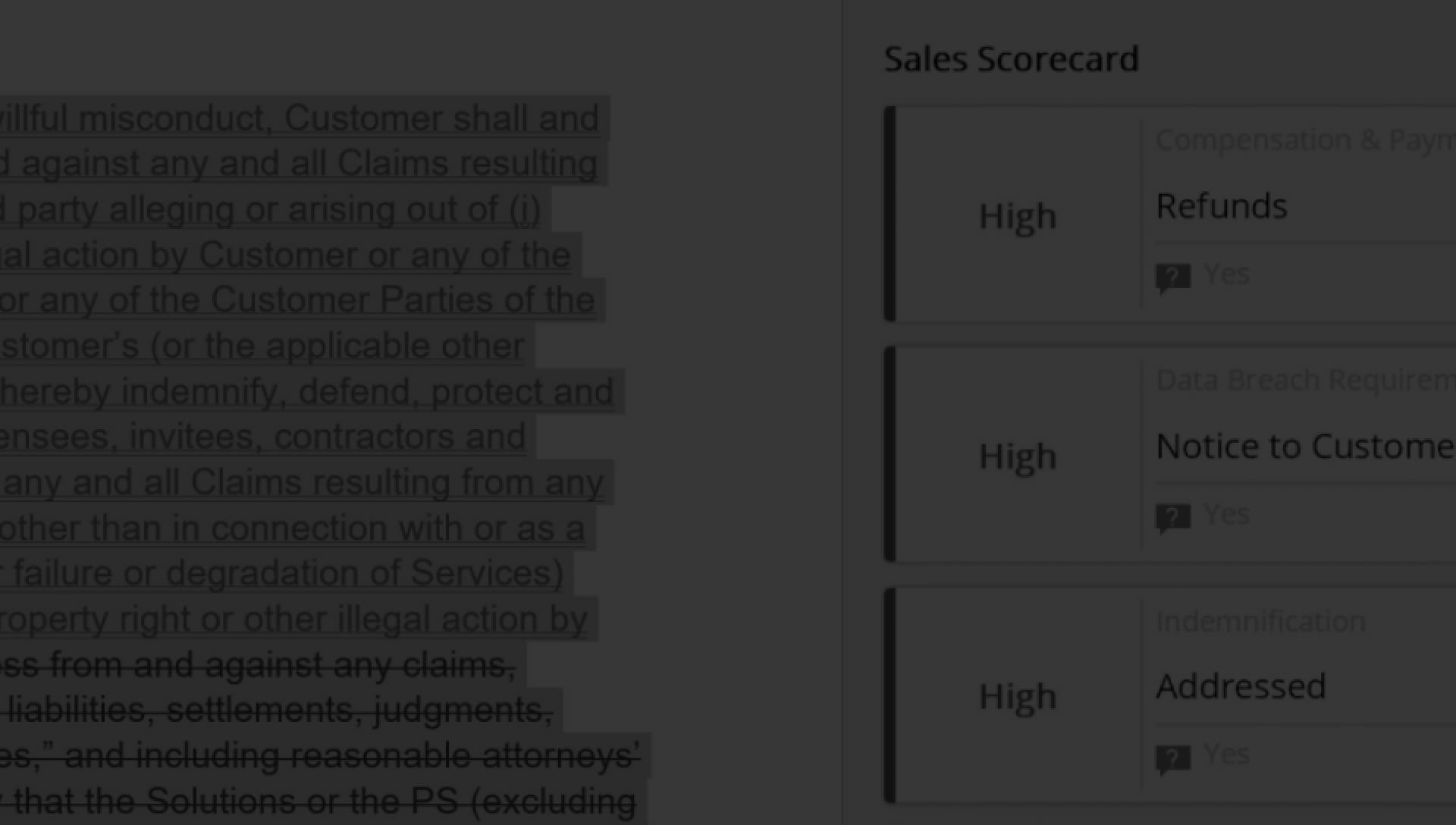 Eine Scorecard vom Vertrieb wird während der Vertragsanalyse mit DocuSign Analyzer angezeigt.