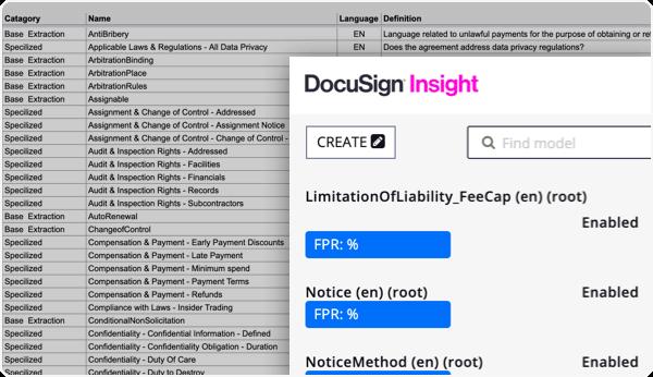 Verwenden Sie die sofort einsatzbereiten KI-Modelle von DocuSign Insight.