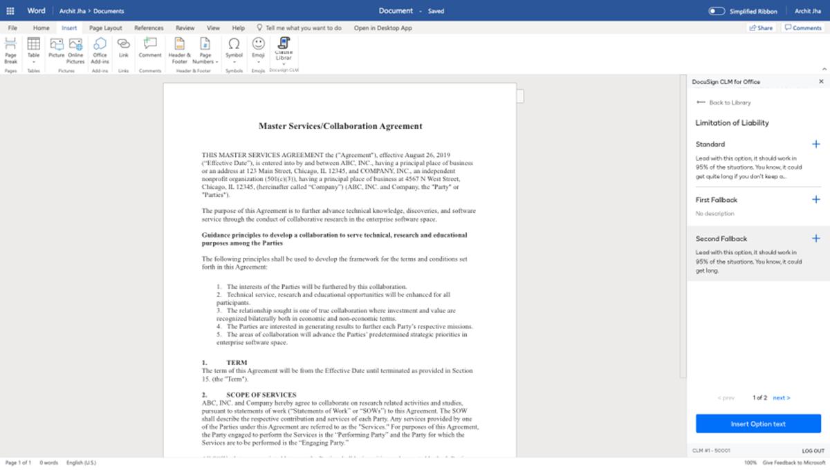 Screenshot einer Klauselbibliothek im System