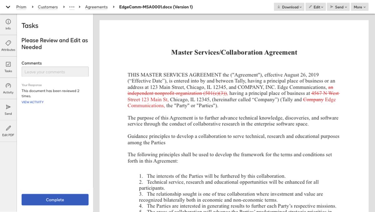 Screenshot von einer Überprüfung eines Vertrags im System