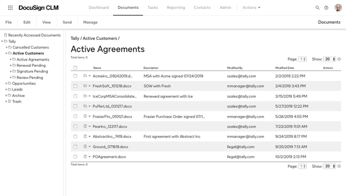 Screenshot eines durchsuchbaren Ordners für aktive Verträge im System