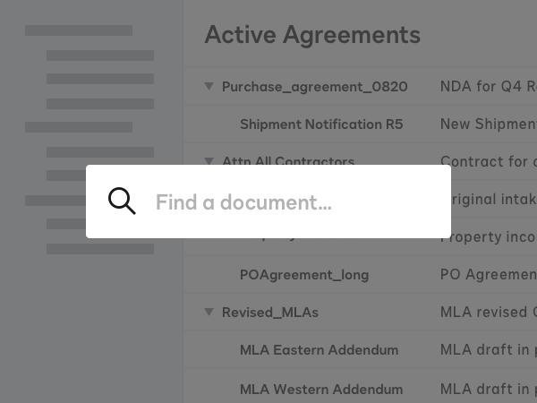 Screenshot eines durchsuchbaren Repositorys für aktive Verträge in DocuSign CLM