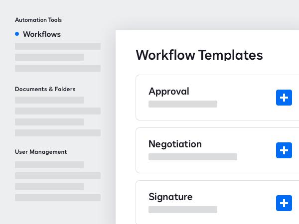 Screenshot der DocuSign CLM-Workflowvorlagen