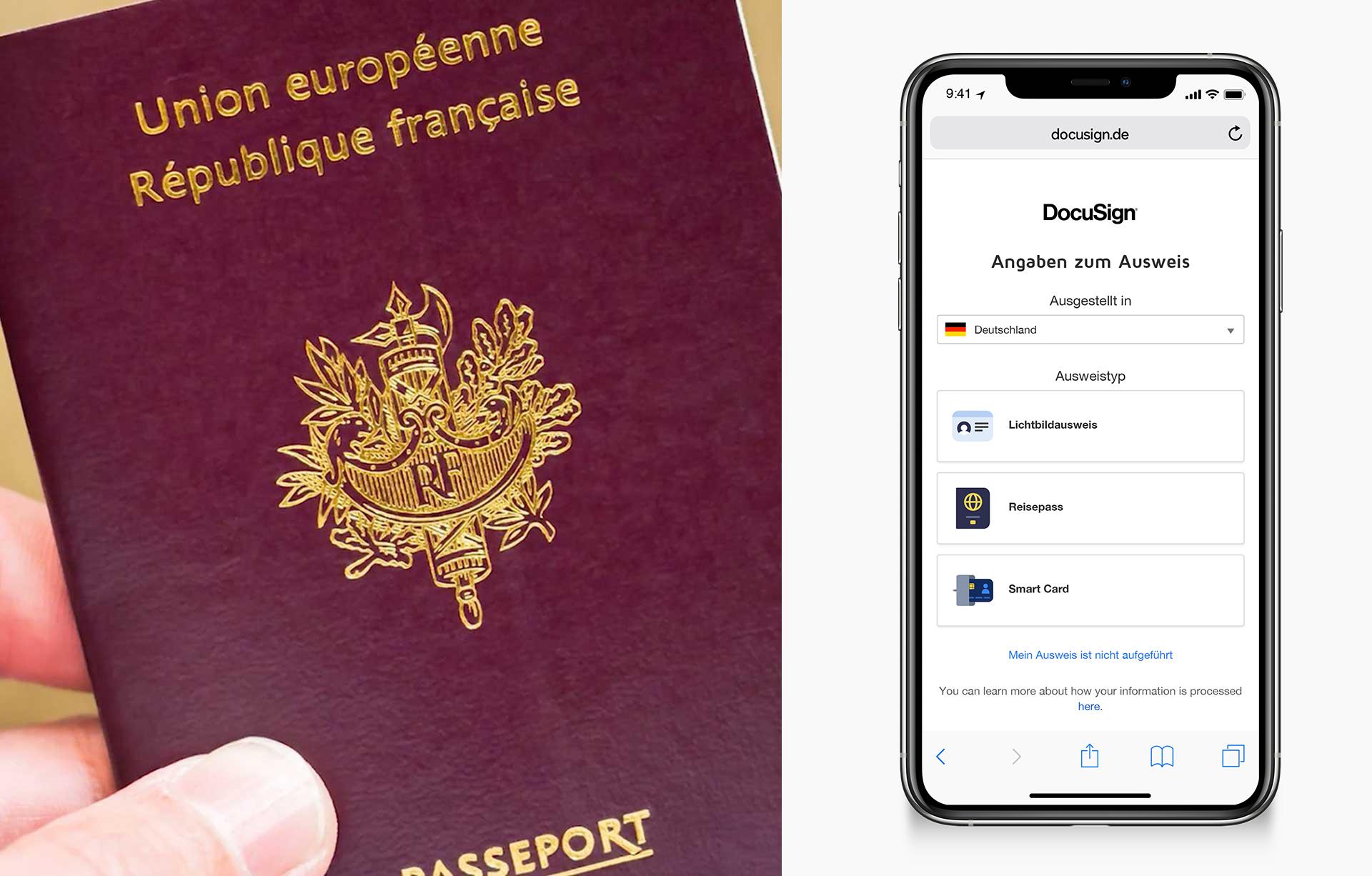 """Ein geteiltes Bild, das links einen Reisepass in einer Hand zeigt und rechts ein Telefon mit der Aufforderung """"Zeigen Sie uns Ihren Ausweis""""."""