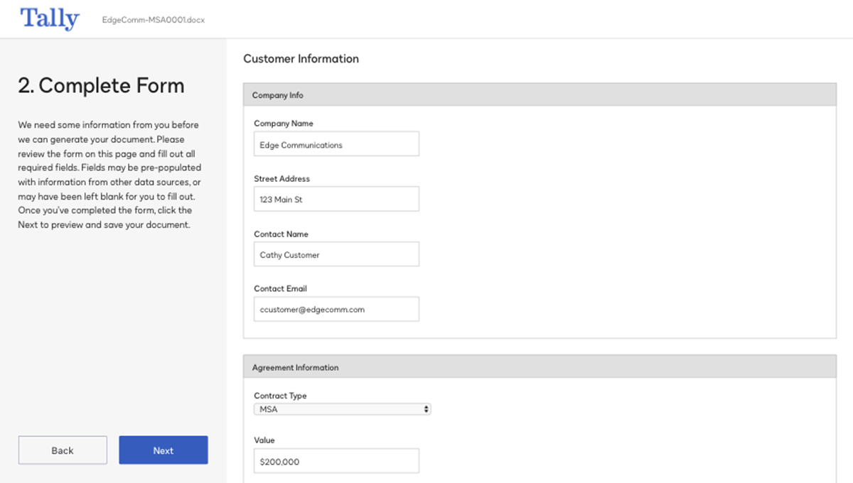 Screenshot vom Ausfüllen eines Formulars im System