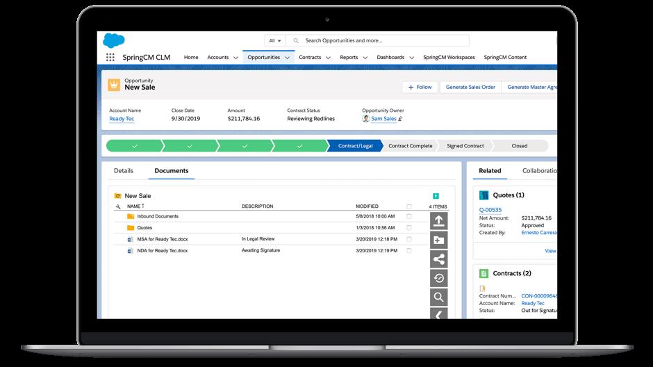 """Screenshot der Salesforce Benutzeroberfläche """"Dokumente generieren""""."""