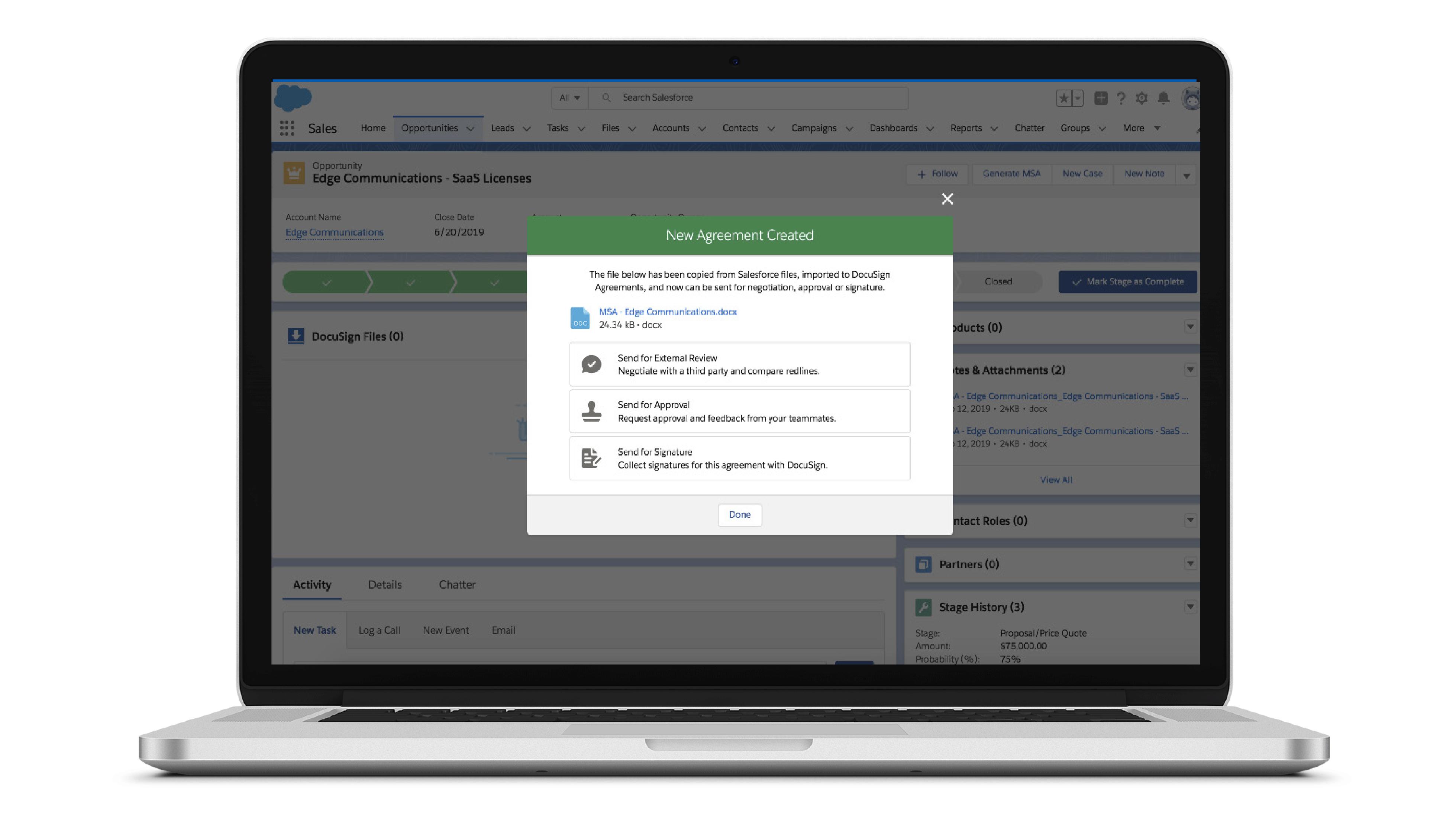 Screenshot der Benutzeroberfläche von Negotiate für Salesforce