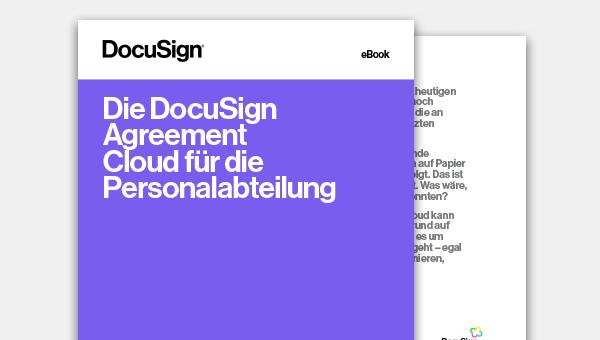 """Vorderseite des eBooks """"Die DocuSign Agreement Cloud für die Personalabteilung"""""""