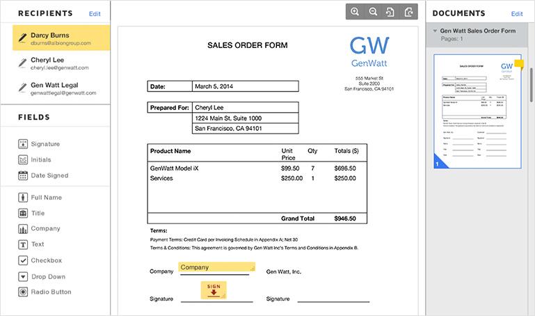 Elektronische unterschrift auf eine Rechnung einholen