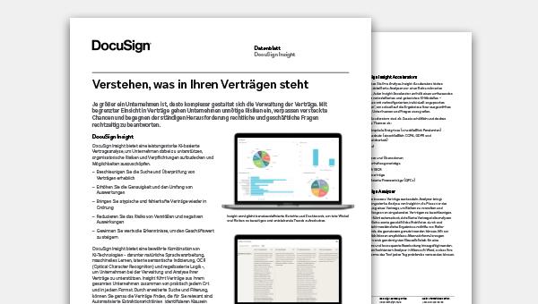 Bild des DocuSign Insight Datenblatts für Vertragsanalysen und Vertragsverwaltung