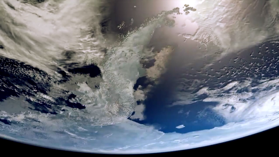 Looking at clouds covering Earth from Outer Space