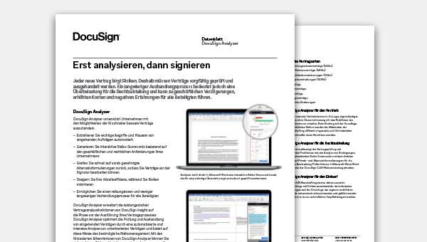 Abbildung des DocuSign Analyzer Datenblatts mit einer Beschreibung der wichtigsten Vorteile und Funktionen der Vertragsanalyse.