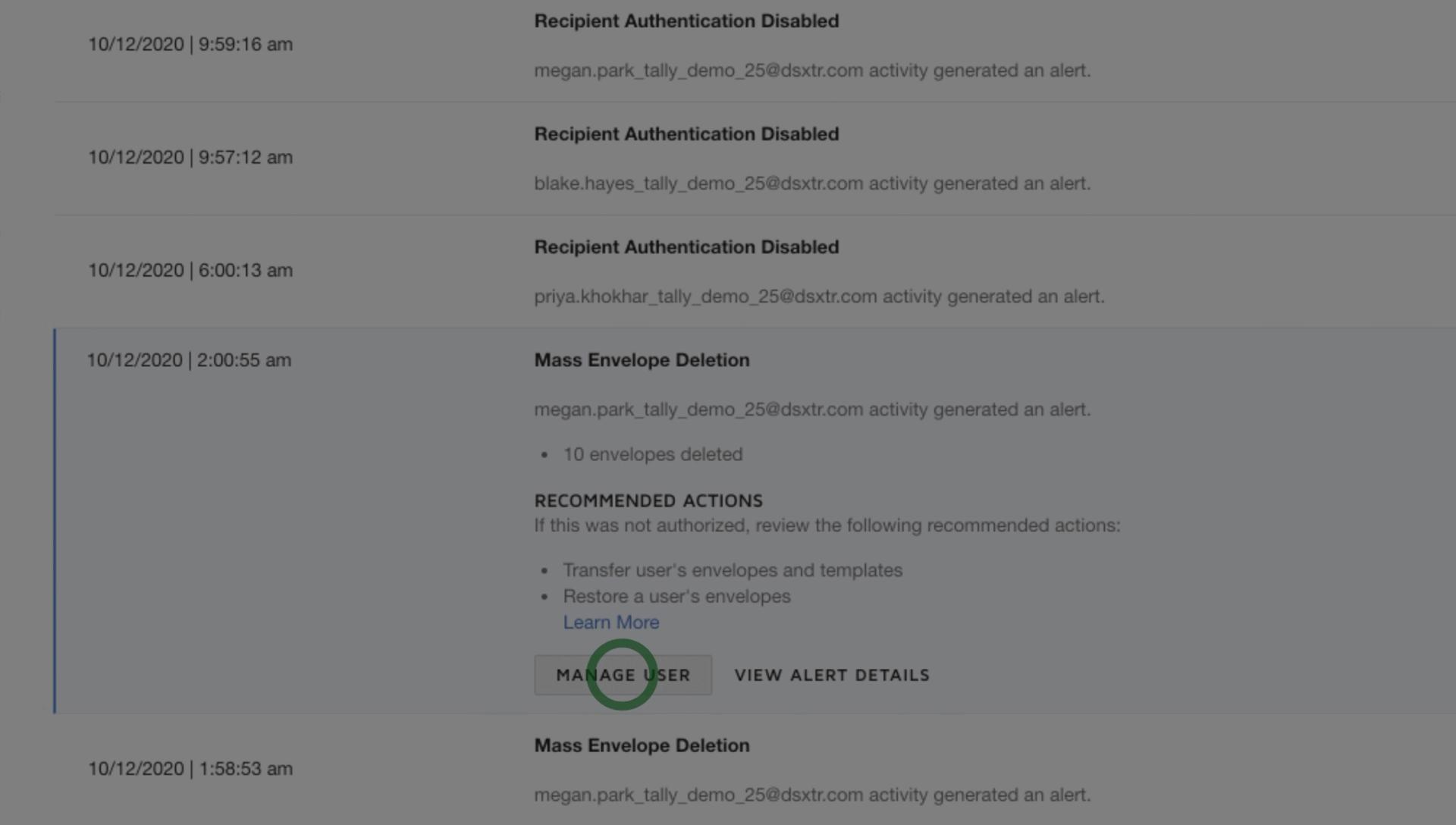 DocuSign Monitor weist Sie auf verdächtige Aktivitäten hin, damit Sie schnell handeln können.