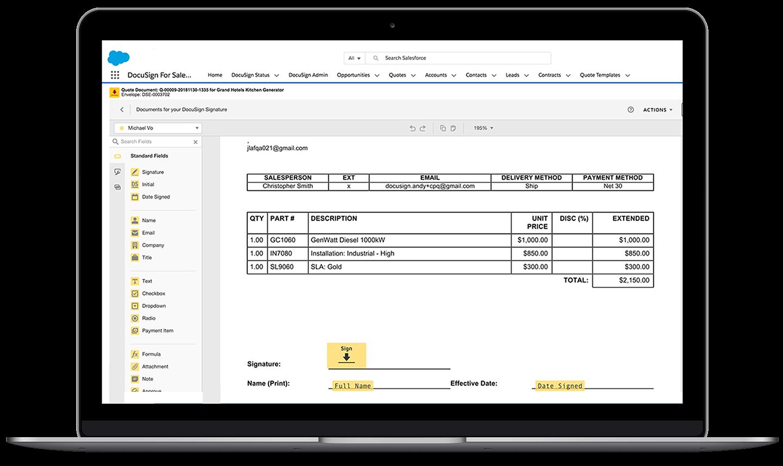 Ein Laptop, der die Salesforce Schnittstelle mit einem geöffneten und in Bearbeitung befindlichen DocuSign-Umschlag zeigt