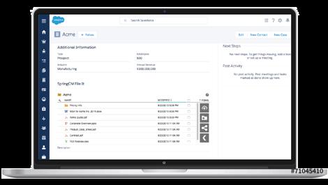 Ein Laptop, der die CLM-Daten in der Salesforce-Benutzeroberfläche anzeigt
