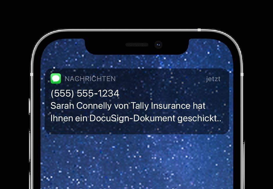 Mit DocuSign eSignature SMS-Benachrichtigungen können Sie Unterzeichner in Echtzeit kontaktieren.