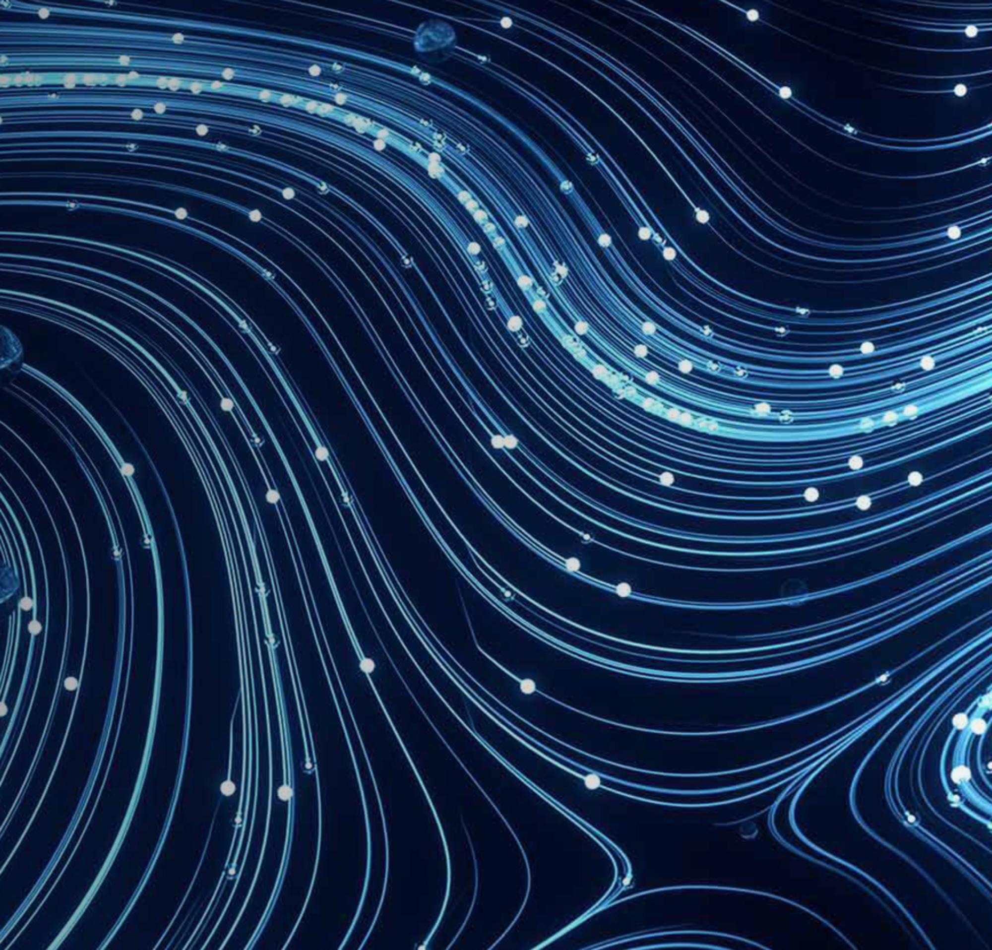 Ein abstraktes Bild von Linien, die ineinander fließen und die Unternehmenssicherheit darstellen sollen.