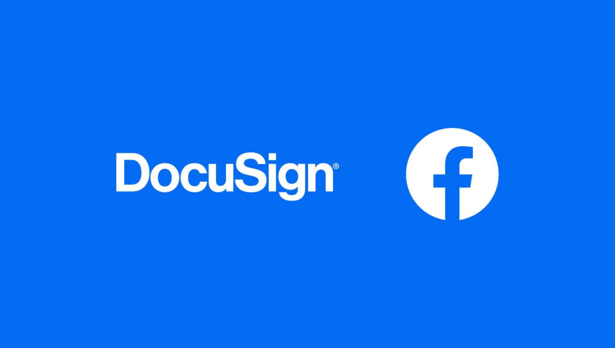 Verpixeltes buntes Licht mit DocuSign und Facebook Logo