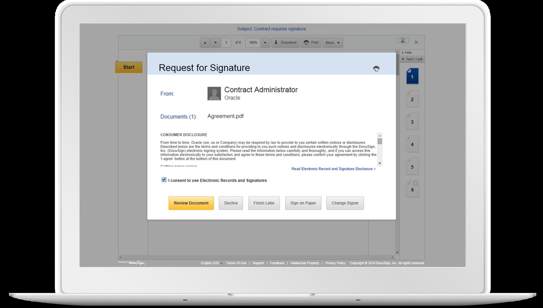 Oracle Cloud-Lösungen und elektronische Signaturen