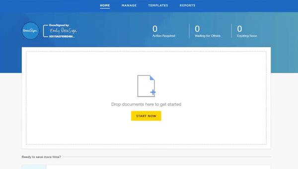 """DocuSign eSignature-Oberfläche mit der Meldung """"Dokumente hier ablegen"""""""